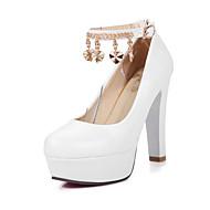 Women's Summer / Fall Heels / Round Toe PU Office & Career / Casual Chunky Heel Buckle / Chain Blue / Pink / White