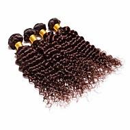 4stk brazilian dybe krøller hår bundter væver mørkebrun 100% uforarbejdede brazilian menneskehår skud