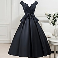 Cocktail Party Dress - Little Black Dress A-line Notched Tea-length Satin with Flower(s) Sash / Ribbon
