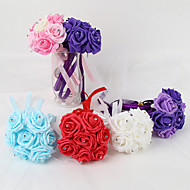 MINI Size PE Foam Rose Flower Round Shape  Bouquets for Bride Wedding (15*22CM,7 pcs Head)