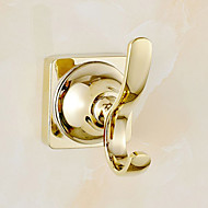 Gold Bathroom Accessories Brass Material Robe Hook