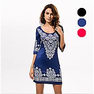 In Farbe Damen Rundhalsausschnitt 1/2 Ärmel Knielänge Kleid-533326684662