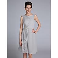 Lanting Bride Sheath / Column Mother of the Bride Dress Knee-length Sleeveless Chiffon with Appliques / Ruffles