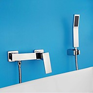 Contemporary  Tub /Shower Widespread with  Ceramic Valve Single Handle Two Holes for  Chrome , Shower / Bathtub Faucet