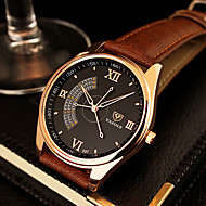 YAZOLE Men's Dress Watch Casual Watch Quartz Leather Band Black Brown