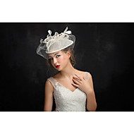 Women's Feather / Tulle / Flax Headpiece-Special Occasion Fascinators 1 Piece