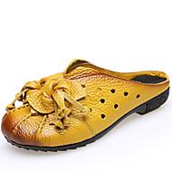 Damen-Slippers & Flip-Flops-Lässig-Nappaleder-Flacher AbsatzSchwarz Gelb Rot