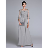 Lanting Bride Sheath / Column Mother of the Bride Dress Ankle-length Half Sleeve Chiffon with Beading / Criss Cross