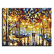 Hand Painted Oil Painting Wedding Decoration Walking In Rain with Stretched Frame Ready to Hang