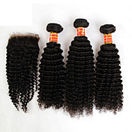 3 Bundles Brazilian Kinky Curly Virgin Hair With Closure Unprocessed Human Hair Weave And Free/Middle Part Lace Closures