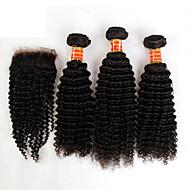 3 kötegek brazil perverz göndör haj szűz Bezárásra feldolgozatlan emberi haj sző és ingyenes / középső részén csipke bezárások