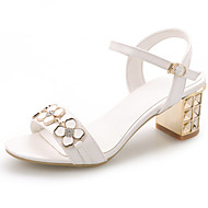 Women's Shoes Chunky Heel Open Toe Ankle Strap Slingback Applique Rhinestone Sandal More Color Available
