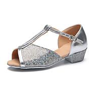 Obyčejné-Dětské-Taneční boty-Latina-Třpytky-Rovná podrážka-Stříbrná / Zlatá