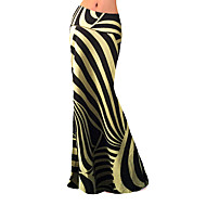 Women's Striped Gold Skirts,Plus Size / Simple Maxi
