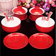 The Bowl Suit Wedding or Bowl of Red Porcelain Longfeng Cup Bowl Ladle Dish