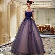 Formal Evening Dress - Color Block Ball Gown Scoop Floor-length Lace Tulle with Appliques