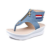 Women's Shoes Canvas Summer Wedges Sandals Casual Wedge Heel Others Blue