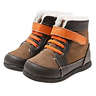 Boys' Shoes Casual Leather Boots Fall / Winter Snow Boots Hook & Loop / Lace-up Gray / Tan