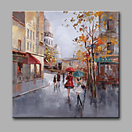 Oil Paintings Modern Landscape Rainy Street Canvas Material With Wooden Stretcher Ready To Hang