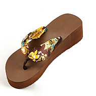 Women's Slippers & Flip-Flops Summer Flip Flops Silk Casual Wedge Heel Others Black / Blue / Brown / White