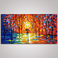 Stretched  Landscape  Painting A Couple Walking Along the Street Modern Wall Art 60x120cm Ready to Hang