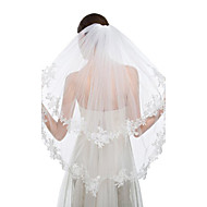 Wedding Veil Two-tier Blusher Veils / Fingertip Veils Lace Applique Edge Tulle / Lace White White / Ivory