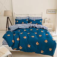 Geometrisch Bettbezug-Sets 4 Stück Polyester Muster Reaktivdruck Polyester ca. 1,50 m breites Doppelbett4-teilig (1 Bettbezug, 1