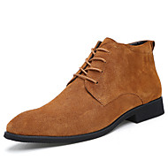 Masculino-Oxfords-Botas de Cowboy-Salto Grosso-Preto Marrom Cinza-Camurça-Escritório & Trabalho