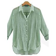 Höst Enfärgad Långärmad Ledigt/vardag Skjorta,Streetchic Kvinnors Tröjkrage Linne Tunn Blå / Vit / Grön / Orange