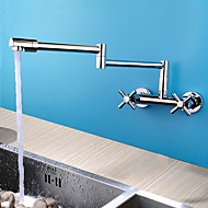 Contemporary / Modern  Centerset Rotatable with  Ceramic Valve Two Handles Two Holes for  Chrome  Kitchen faucet