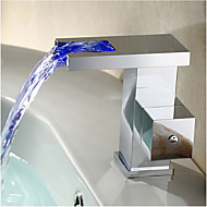 Art Deco/Retro / Modern Widespread LED / Widespread with  Ceramic Valve Single Handle One Hole for  Chrome  Bathtub