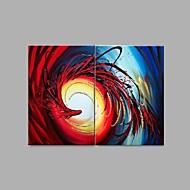 Pintados à mão Abstracto / Vida Imóvel / Fantasia Pinturas a óleo,Modern / Estilo Europeu 2 Painéis Tela Hang-painted pintura a óleo For