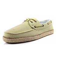 Herre-Lerret-Flat hælFlate sko-Fritid-Blå Gul Beige Marine