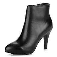 Boty-Kůže-Špičatá špička / Módní boty-Dámské-Černá-Šaty / Běžné-Vysoký