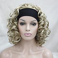 nieuwe mode 3/4 pruik met hoofdband honing ash blonde mix bleke blonde krullend kort synthetische half pruik