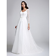 A-line Wedding Dress Court Train V-neck Lace with Lace