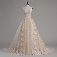 A-line Wedding Dress Chapel Train Halter Tulle with Appliques / Beading / Crystal / Ruffle