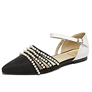 Women's Flats Fall Mary Jane / Pointed Toe Fabric Outdoor Flat Heel Imitation Pearl Black Others