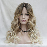 Quality Heat Resistant Ombre Dark Brown to Blonde Wavy Long Wig small edge lace front