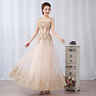 Prom / Formal Evening Dress Ball Gown Scoop Floor-length Tulle with Appliques / Beading / Sequins