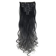 dva tón Ombre vlasy klip v prodlužování vlasů 7ks 130 g tělesné zvlněná dip barviva klip v prodlužování vlasů černé nebo tmavě šedé vlasy