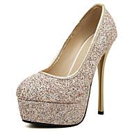 נשים-עקבים-PU-פלטפורמה נעלי מועדון להאיר נעליים-שחור זהב-משרד ועבודה שמלה יומיומי מסיבה וערב-עקב סטילטו פלטפורמה