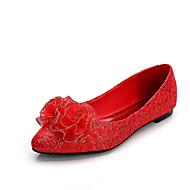 נעלי נשים-שטוחות-סוויד-שפיץ / סגור / שטוחות-אדום-חתונה-עקב שטוח