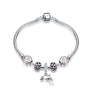 Fashion 925 Pure Silver Women's Bracelets Dolphin Gift Pink Color(1pc)