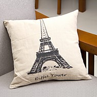 Eiffel Tower Cotton/Linen Pillow Cover