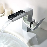 Contemporary / Modern Centerset Waterfall with  Ceramic Valve Single Handle One Hole for  Chrome Bathroom Sink Faucet