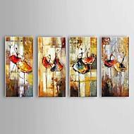 Pintados à mão Abstracto / Paisagem / Vida Imóvel Pinturas a óleo,Modern / Clássico / Pastoril / Estilo Europeu 4 Painéis Tela