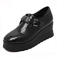 Women's Sneakers Spring / Fall Creepers Leatherette Outdoor Platform Buckle Black Walking