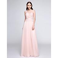 바닥 길이 레이스 / 튤 신부 들러리 드레스 - 시쓰루 시스 / 칼럼 V-넥 와 레이스