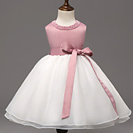 Ball Gown Knee-length Flower Girl Dress - Organza / Polyester Sleeveless Jewel with Beading / Bow(s)